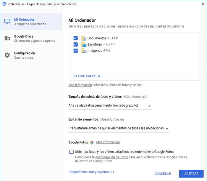 Pantalla de configuración de Google Backup and Sync